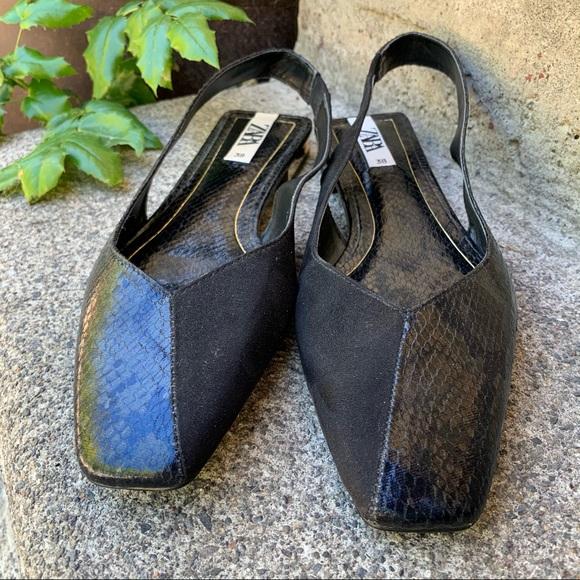 Zara Black Dual Textured Square Toe Sandals | 38